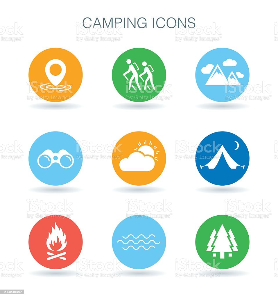 Camping icons. Camp site symbols. Outdoor adventure signs. Vector illustration. vector art illustration