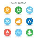 Camping icons. Camp site symbols. Outdoor adventure signs. Vector illustration.