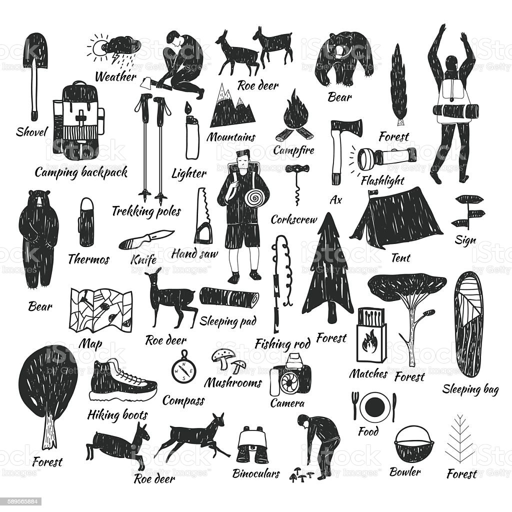 camping icons doodle text vector art illustration