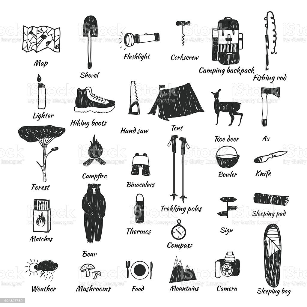 camping icons doodle text - Illustration vectorielle