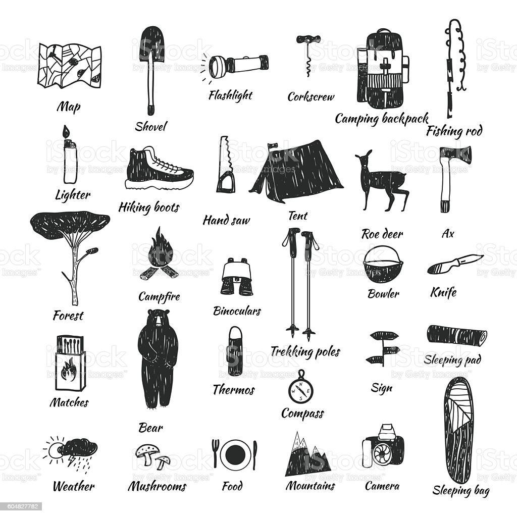 camping icons doodle text - ilustração de arte em vetor