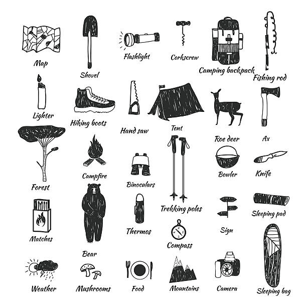 camping icons doodle text Vector hand drawn cartoon seamless camping icons. Picnic, travel and camping theme. Black and white camping icons. Textile, paper, polygraphy, game, web design adventure drawings stock illustrations