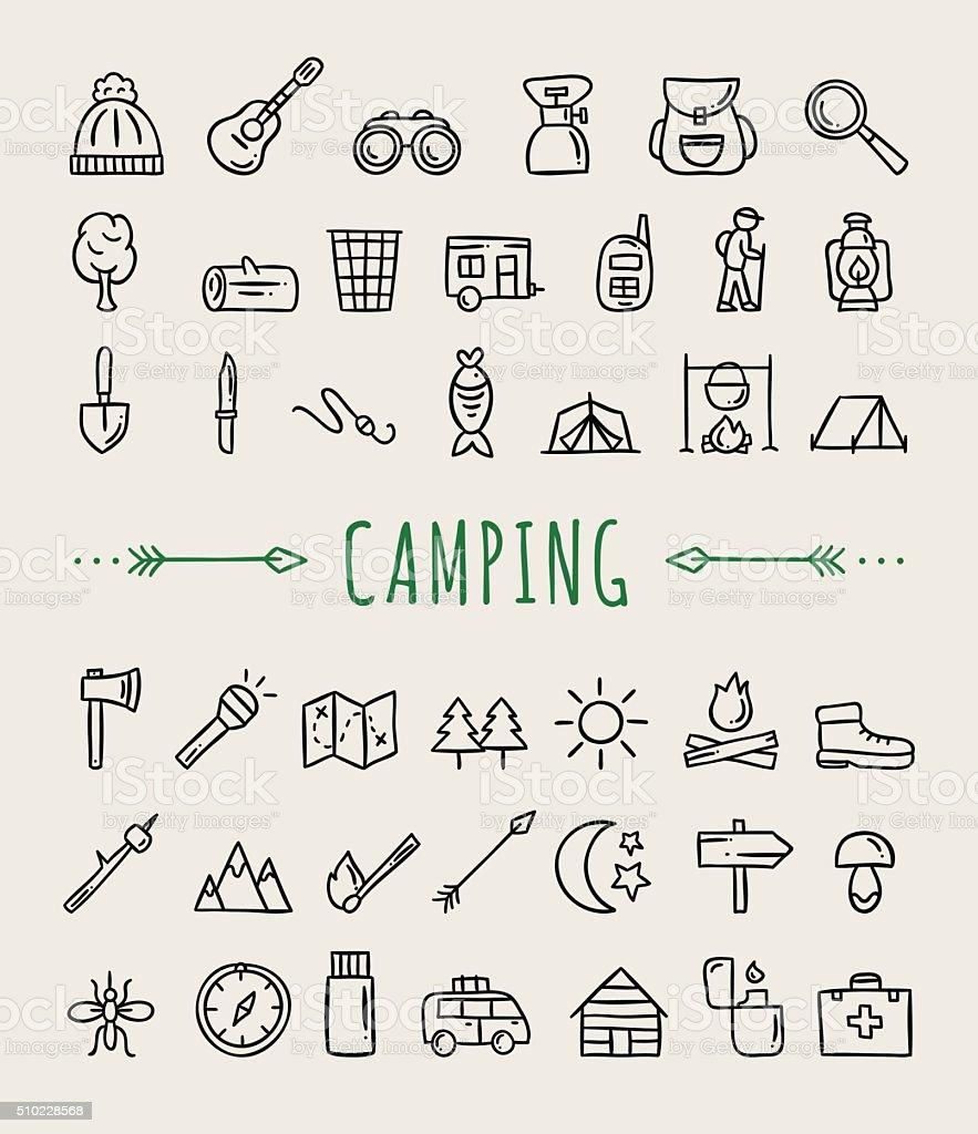 Camping icons. Hand drawn camping and travelling symbols vector art illustration
