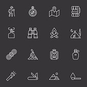 Vector file of Camping Icons - Light White related vector icons for your design or application.Raw style. Files included: vector EPS, JPG. See more in this series.