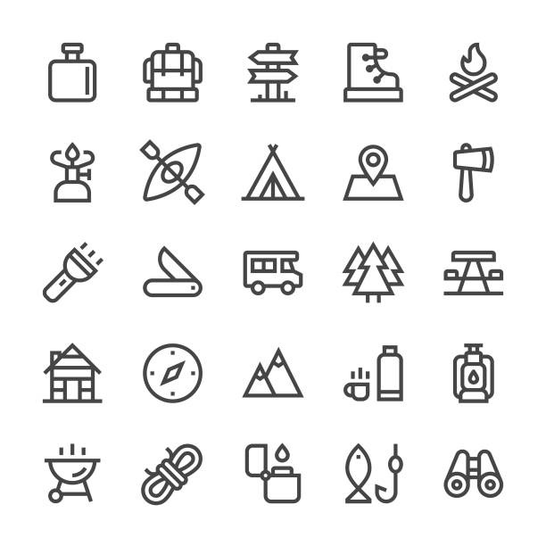 Camping Icons - MediumX Line vector art illustration