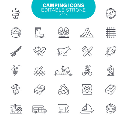 Camping Icons. Set contains symbol as Outdoor, Stroking, Camp fire, Fashlight, Mountains
