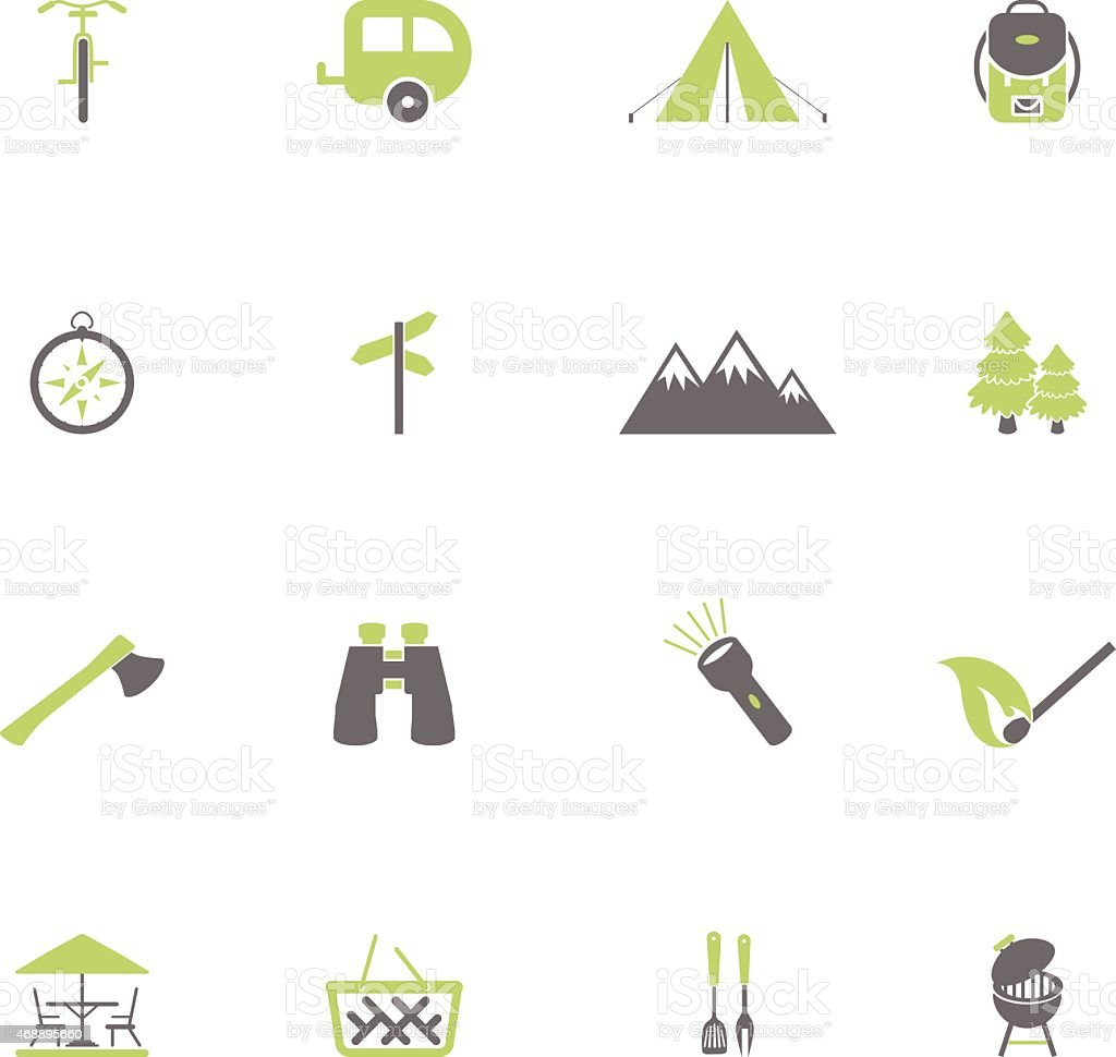 Camping icons set vector art illustration