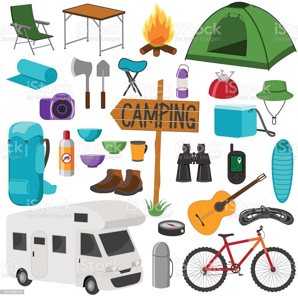 Camping icons set. vector art illustration