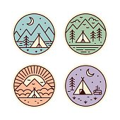 Camping badges set. Tourist tent in different locations. Vector geometric icons in vintage colors.