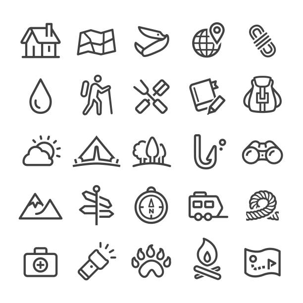 Camping Icons - Smart Line Series Camping, travel, hiking, touring car stock illustrations