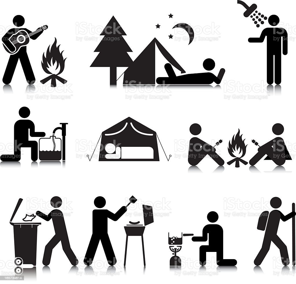 camping icons standard stock vector art  u0026 more images of barbecue grill 165734614