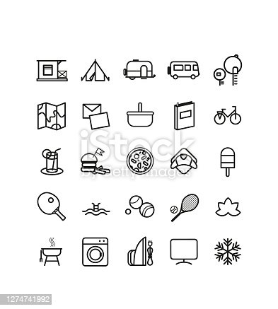istock camping icons, symbols, elements and logo collection 1274741992