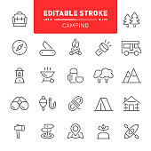 Camping, hiking, tourism, editable stroke, outline, icons, outdoor, fishing, forest, bonfire, travel