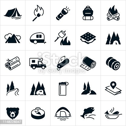 A set of camping icons. The icons include a tent, matchstick, camp fire, flashlight, backpack, mountains, travel trailer, roasting marshmallows, s'mores, firewood, camper, pocket knife, sleeping pad, sleeping bag, river, trail, water bottle, map, bear, compass and fish.