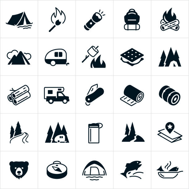 Camping Icons A set of camping icons. The icons include a tent, matchstick, camp fire, flashlight, backpack, mountains, travel trailer, roasting marshmallows, s'mores, firewood, camper, pocket knife, sleeping pad, sleeping bag, river, trail, water bottle, map, bear, compass and fish. cooking black and white stock illustrations
