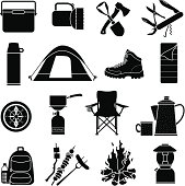 Vector icons with a camping theme.