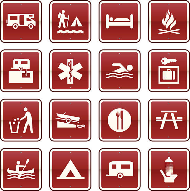 Camping Icons Collection of 16 Icons for Camping and Campsites. waterfront stock illustrations