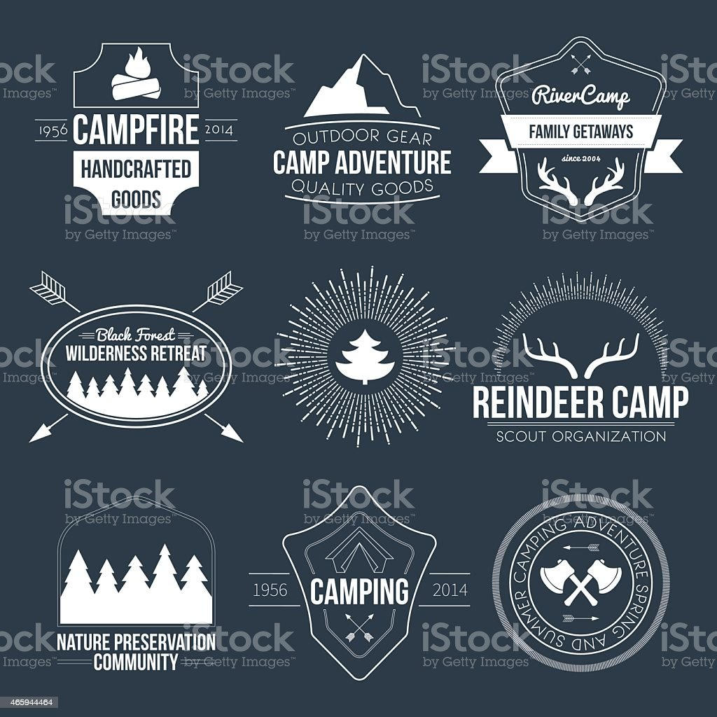 Camping icons vector art illustration