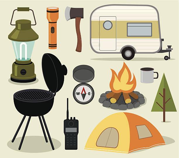 stockillustraties, clipart, cartoons en iconen met camping icons - caravan