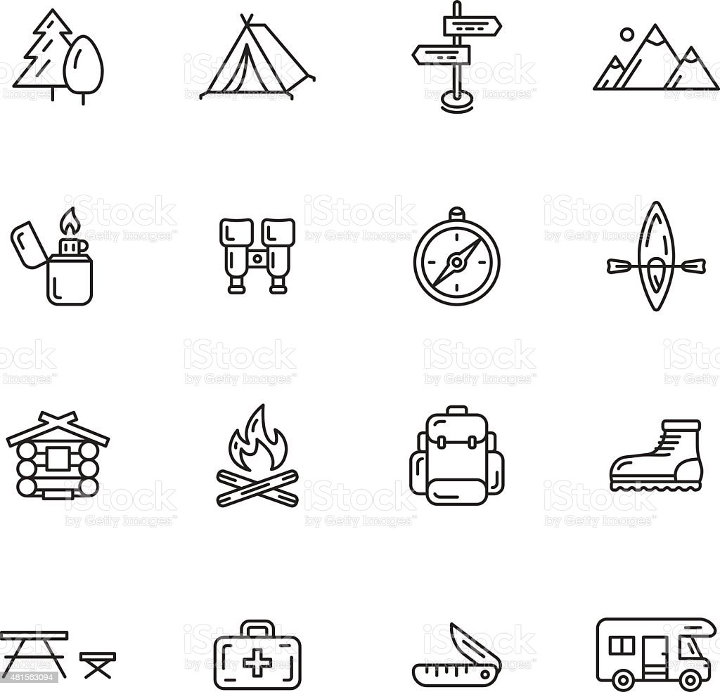 Icônes de Camping - Illustration vectorielle