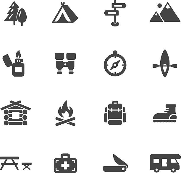 camping icons - log cabin stock illustrations, clip art, cartoons, & icons