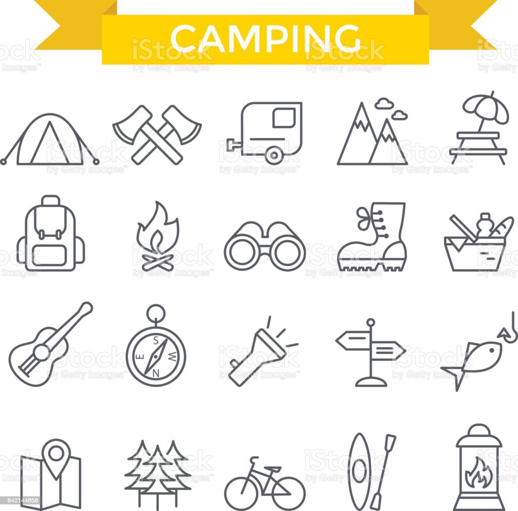 Camping icons. vector art illustration