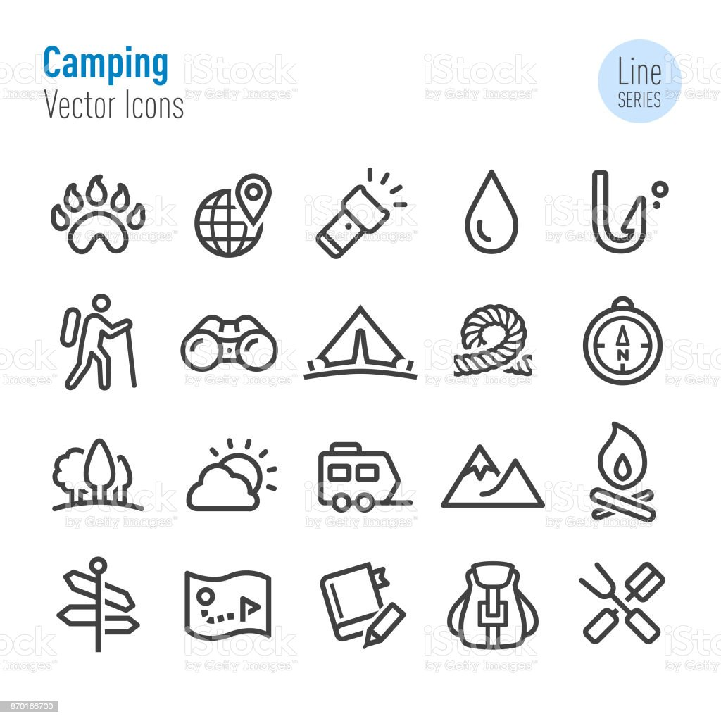Camping Icons - Vector Line Series vector art illustration