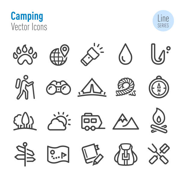 Camping Icons - Vector Line Series Camping, Adventure, Travel, touring car stock illustrations