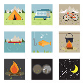 Camping illustration icon set