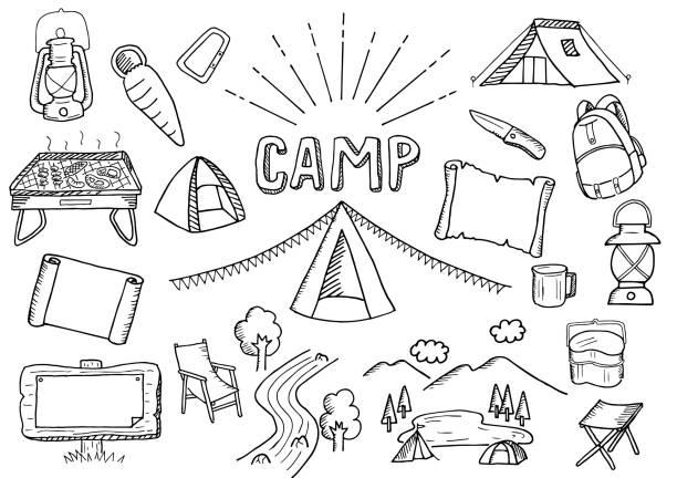 キャンプのイラスト セット ベクターアートイラスト