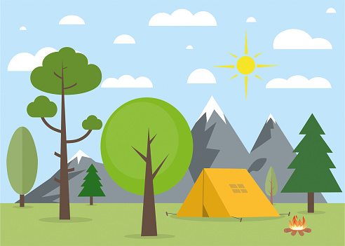 Camping in nature landscape