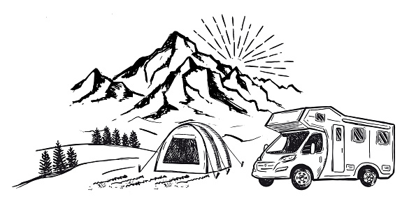 Camping in nature, motorhome, Mountain landscape, hand drawn style, vector illustrations.