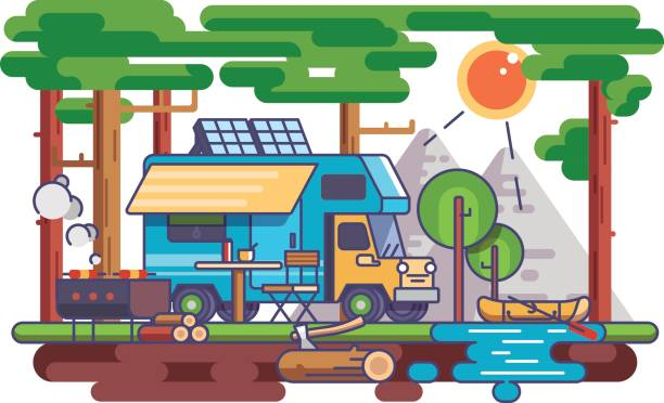 Camping in nature vector art illustration