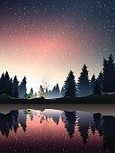 camping in pine wood near lake at dusk.vector