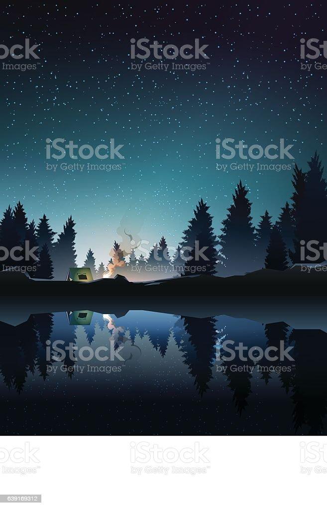 camping in pine wood near lake at night 12時のベクターアート素材や