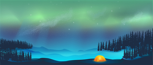 Camping in tent under Aurora Borealis Northern Lights in Snow