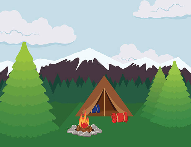 Camping in the Mountains vector art illustration