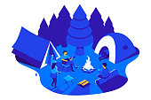 Camping in woods isometric illustration. Camping party. Group of people sitting at a campfire. Summer outdoor fun. Eps 10.