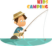Camping and fishing children concept with lake and rod cartoon vector illustration