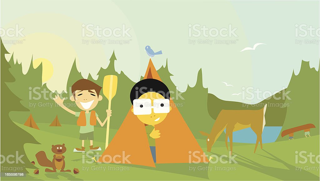Camping Kids royalty-free camping kids stock vector art & more images of bird