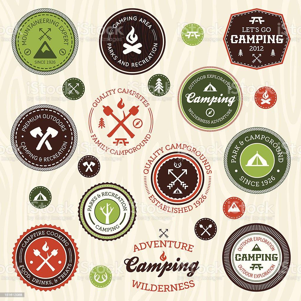 Camping labels vector art illustration