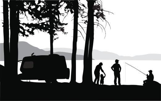 Camping' Lake Vector Silhouette