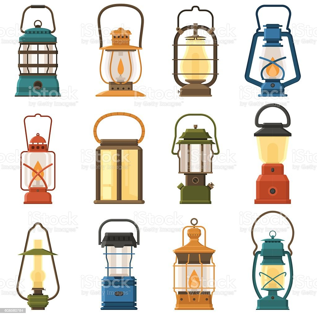 Camping Lantern or Gas Lamp vector art illustration