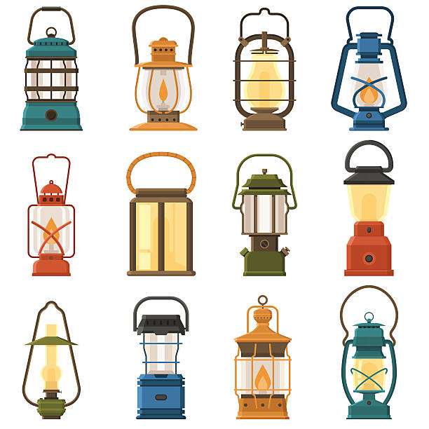 Camping Lantern or Gas Lamp Vintage camping lantern set isolated on white background. Different oil lamp collection. Modern and retro lanterns vector illustration. Various handle gas lamps for tourist hiking. lantern stock illustrations