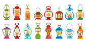 Camping lantern set in flat style. Vector illustration of camp equipment. Retro gas lamps collection for garden. Different cartoon oil lamp