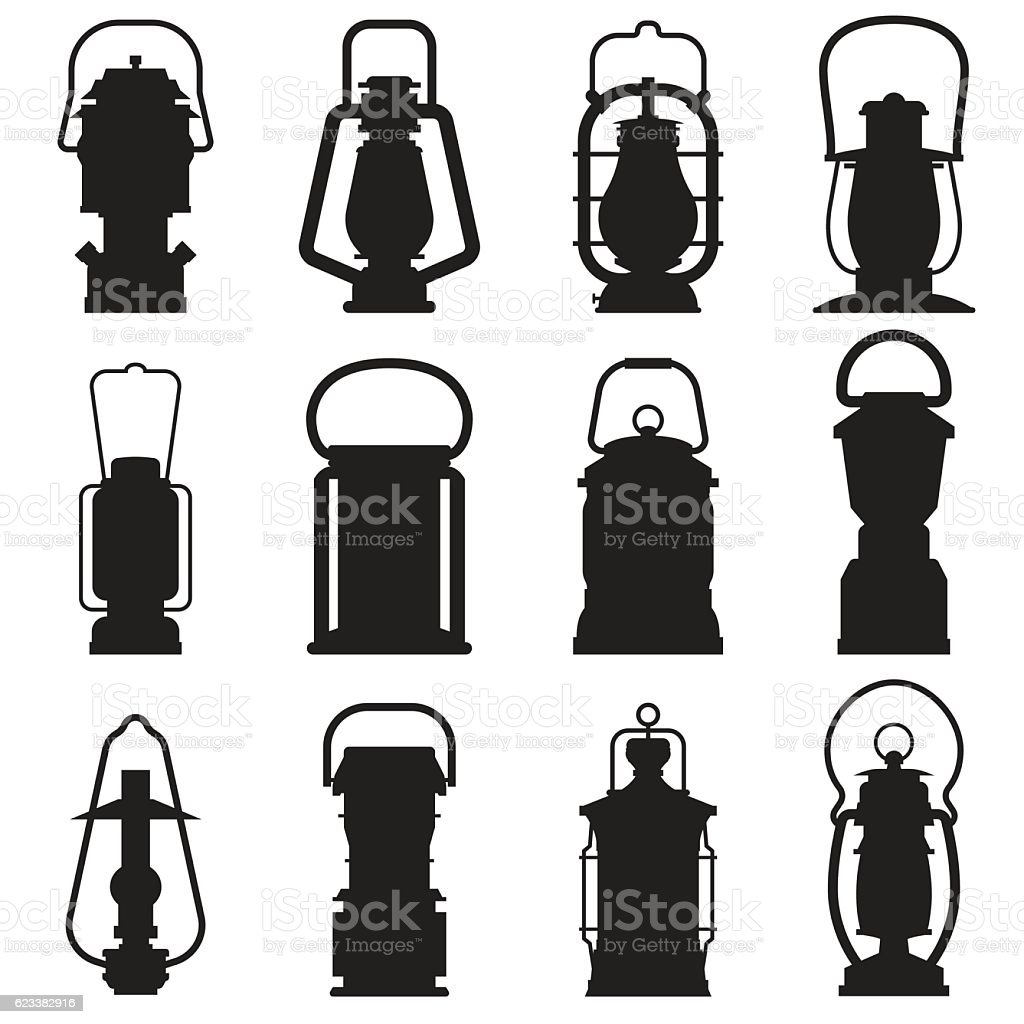 Great Camping Lantern Silhouettes Stock Vector Art For Clipart Black And White Qdu With Lamp Met 183qdu
