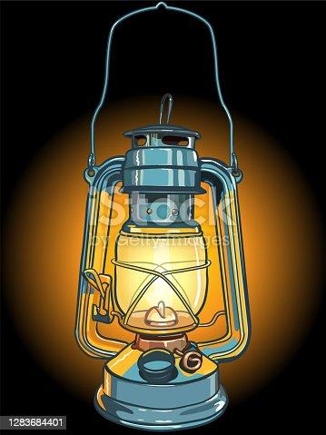 Vector Illustration of Camping Lantern. Sketchy Styled Lantern.