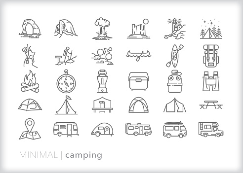 Set of 30 camping line icons for travel in nature by tent, canoe or RV