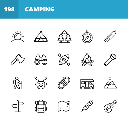 Camping Line Icons. Editable Stroke. Pixel Perfect. For Mobile and Web. Contains such icons as Sun, Summer, Tent, Forest, Compass, Axe, Binoculars, Kayak, Campfire, Trekking, Climbing, Hunting, Knot, Camper, Trip, Vacation, Backpack, Map, Marshmallow.