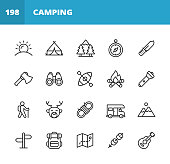 20 Camping Outline Icons. Camping, Sun, Summer, Sunrise, Sunset, Tent, Forest, Trees, Navigation Compass, Directions, Axe, Binoculars, Kayak, Fire, Campfire, Trekking, Climbing, Mountains, Deer, Hunting, Animal, Rope, Knot, Camper, Vehicle, Trip, Vacation, Backpack, Map, Treasure Hunt, Marshmallow.